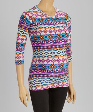 This Purple Abstract Gathered Maternity Top by GLAM is perfect! #zulilyfinds