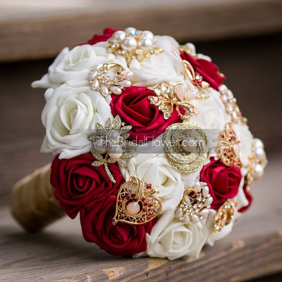 White And Gold Wedding Flowers: Red And Gold Brooch Bouquet Inspired By Bold By