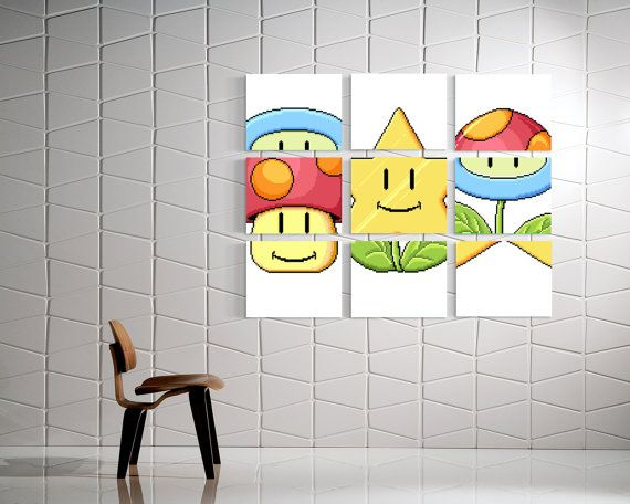 Mario Match Canvas Art Super Mario Bros 3 Mario Mini Game Mario Art Mario Puzzle Super Mario Art Mushroom Fire Flower Mario Star Geeky Decor Gaming Wall Art Mario Room