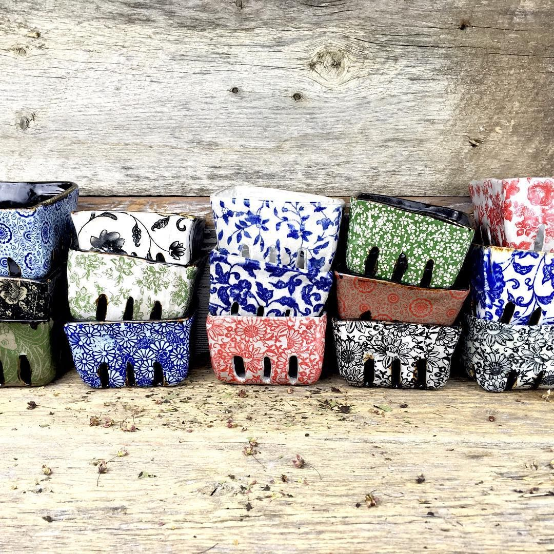 Handmade rustic organic ceramic berry cartons #pottery #Regram via @terrefermepottery