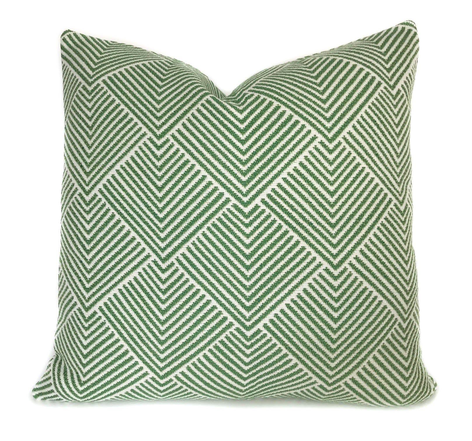 Green White Outdoor Decorative Throw Pillow Cover With Zipper Etsy Outdoor Pillow Covers Decorative Throw Pillow Covers Pillows