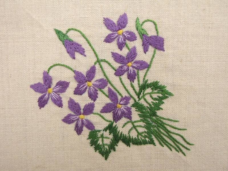 French embroidered violets