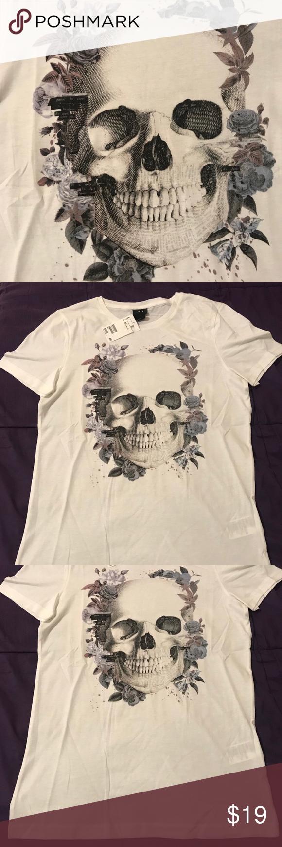 Skull Roses H M T Shirt Size Xs Skull Skulls And Roses Clothes Design