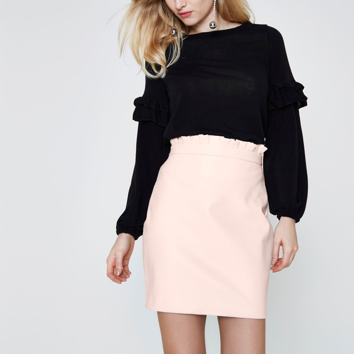 25b31e0be Light pink paperbag faux leather mini skirt £15.00 | River Island in ...