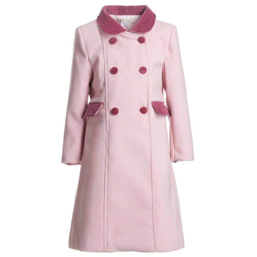 Girls Pink Classic Coat With Velvet Collar - Coats & Jackets ...