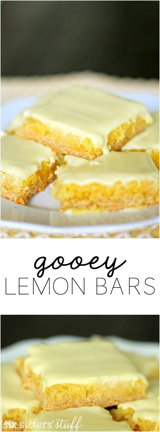 Gooey Lemon Bars from SixSistersStuff.com. These are made with a cake mix and are hands-down the best lemon bars I've EVER had!