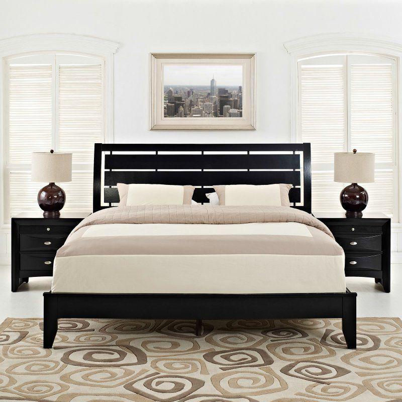 Modway Olivia 3 Piece Platform Bed Collection   Black   MOD 5097 BLK