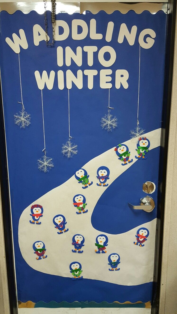 """Waddling into Winter"" Preschool door theme."