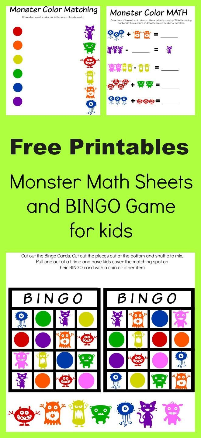Monster Math and Bingo Printables | Printable bingo games, Bingo ...