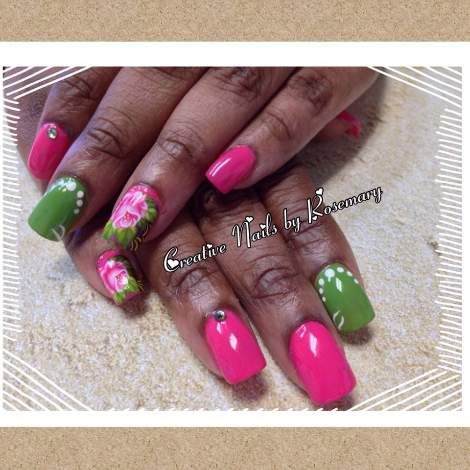 Acrylic Set With Nail Art Nails Nail Spa Creative Nails