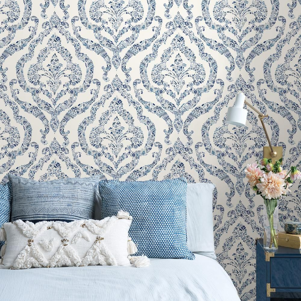 Nuwallpaper Blue Guildford Blues Vinyl Strippable Roll Covers 30 75 Sq Ft Nus3547 The Home Depot In 2021 Blue And White Wallpaper Blue Wallpaper Bedroom Bedroom Wallpaper Accent Wall