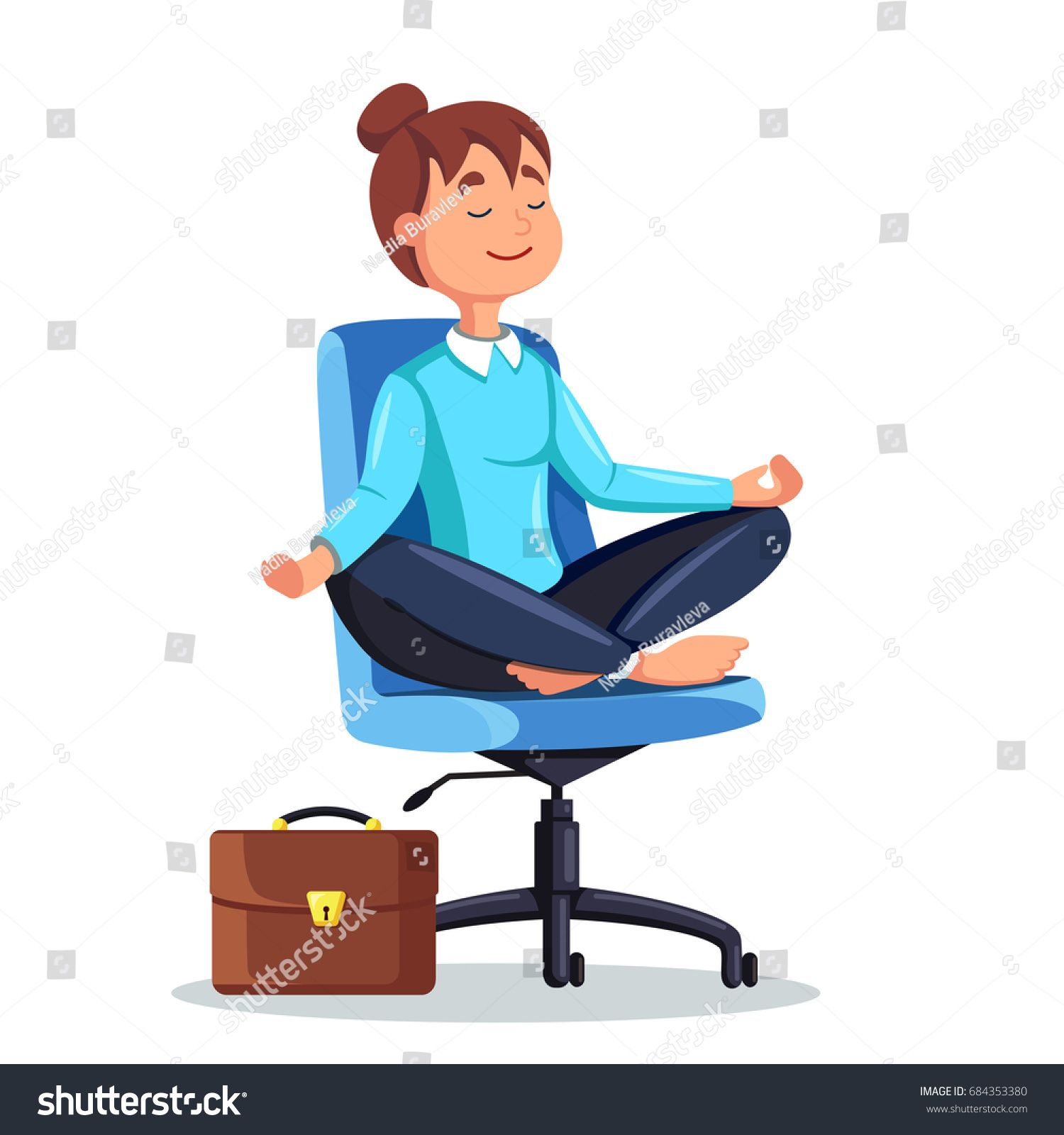 Business woman meditating in lotus pose on office chair ...