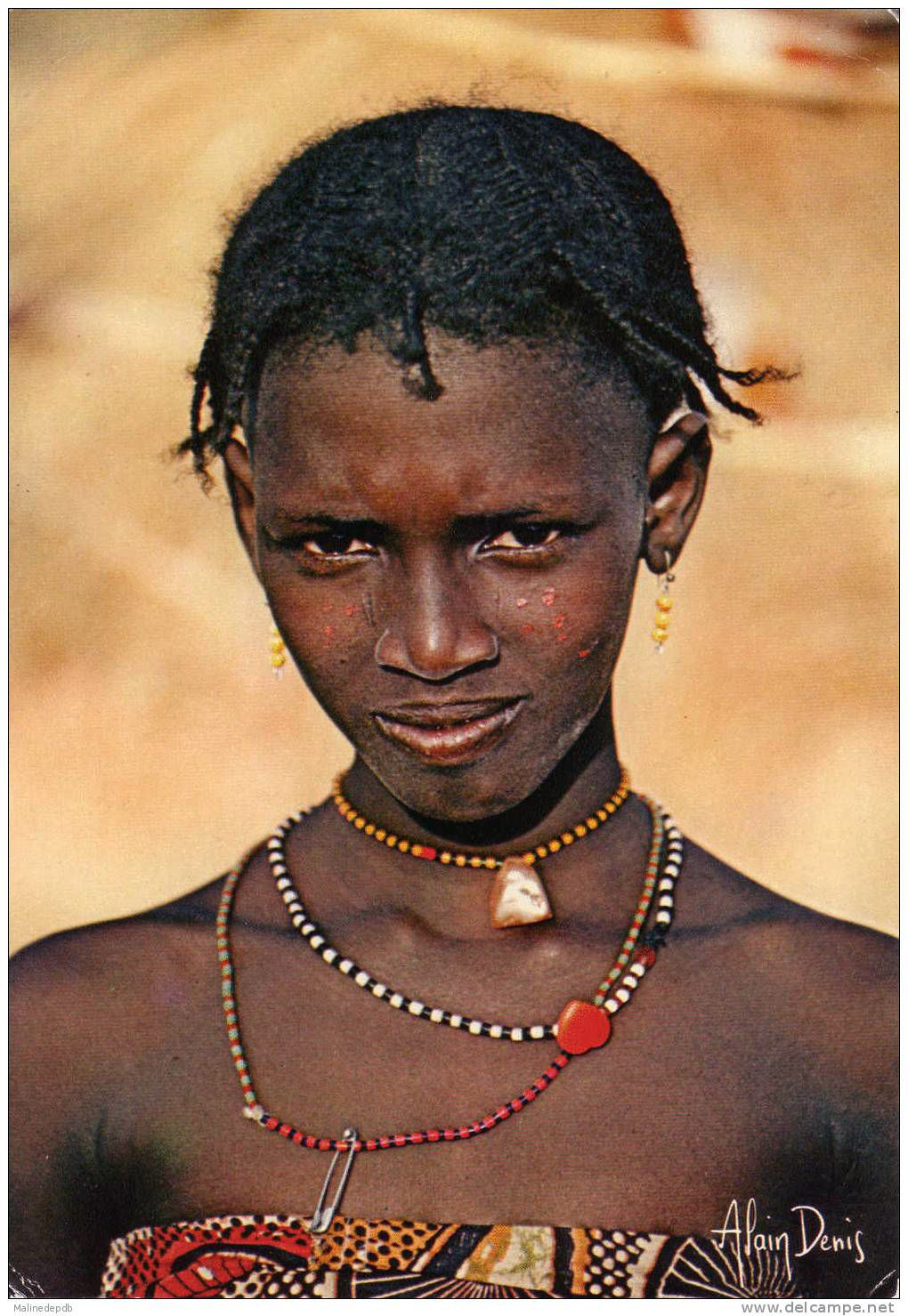 Africa   Bororo girl from the Garoua region of northern Cameroon    Scanned postcard, photo by Alain Denis