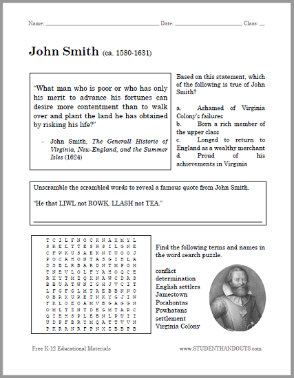 John Smith Bellwork Worksheet - Free to print (PDF). For American ...