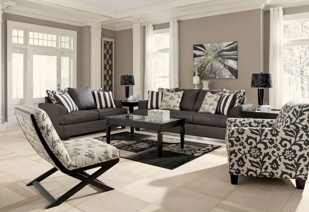 Ashley Levon Charcoal Sofa And Loveseat Charcoal Living Rooms