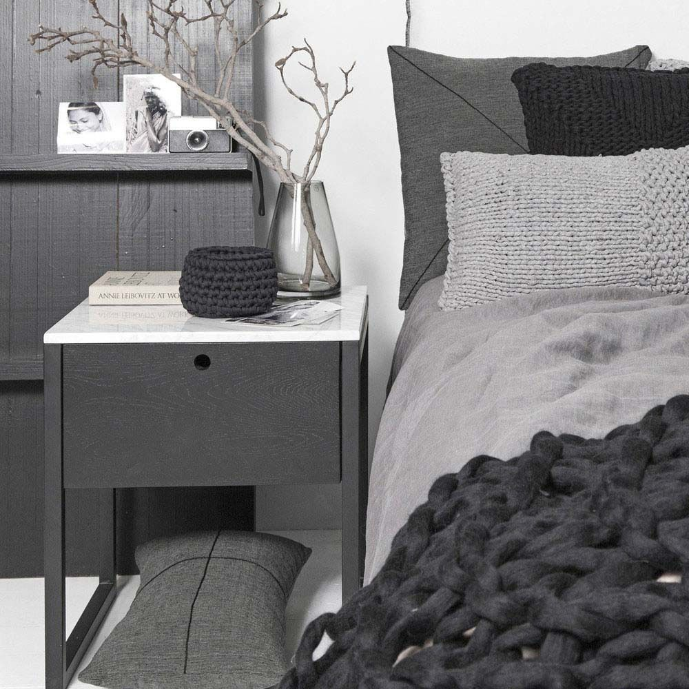 Best Modern Marble Bedside Table And Nightstand Black Ash Wood 400 x 300