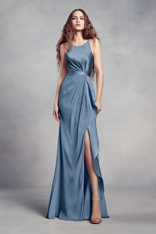 0aa6b4760bb Charmeuse and chiffon come together on this White by Vera Wang bridesmaid  dress