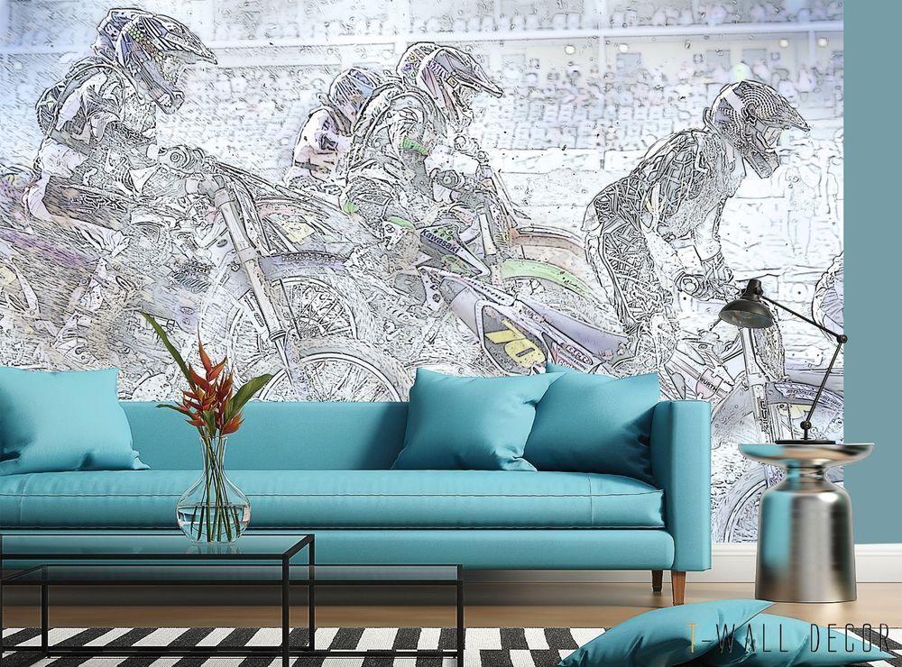 Black & White Painted Motorbikes Wallpaper MURAL Boy