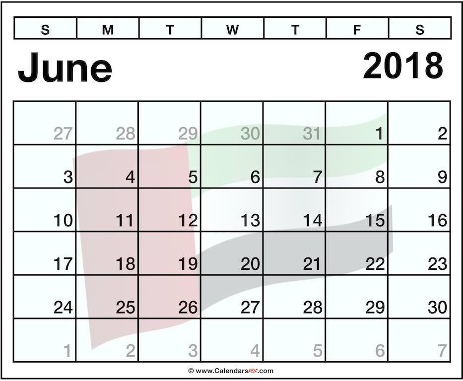 june 2018 calendar uae