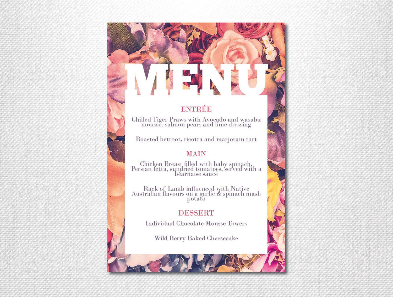 Vintage Rose Menu Rose Petal Dinner Menu Floral Guest