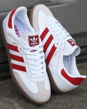 Adidas Samba OG Trainers White/Red   Adidas outfit shoes, Adidas ...