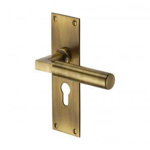 Bauhaus Bau7348 At Antique Brass Euro Lock Door Handles