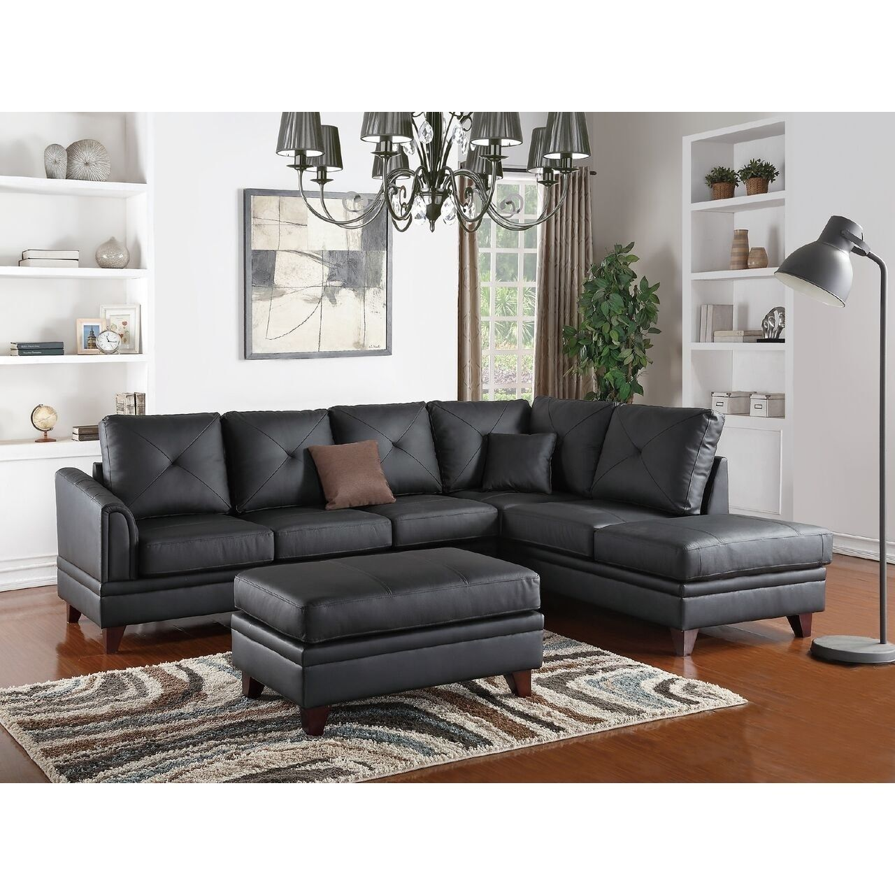 black leather living room furniture sets%0A Poundex Hrazdan Sectional Sofa Upholstered in Genuine Leather  Brown