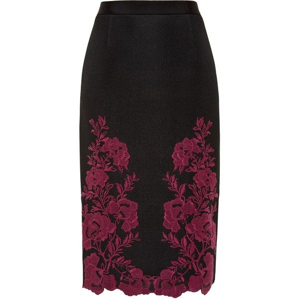 33700749485a38 Ted Baker Valari Embroidered mesh lace skirt ( 250) ❤ liked on Polyvore  featuring skirts