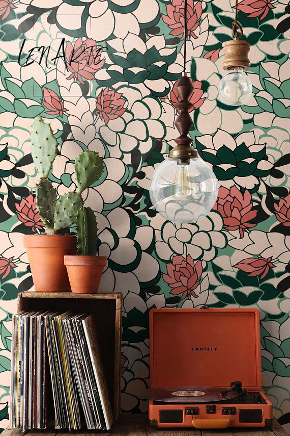 Succulent floral removable wallpaper colorful peel and - Easy peel off wallpaper ...
