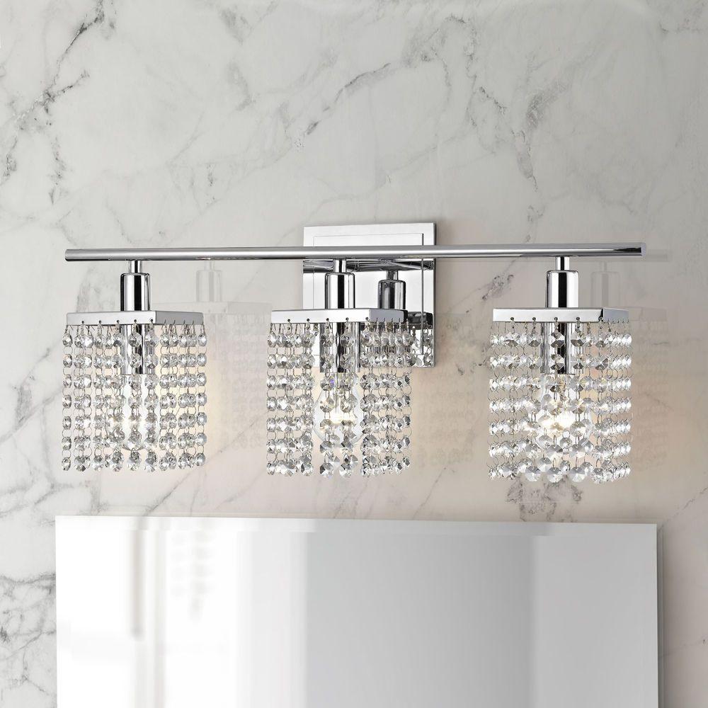 Pluie 3 Light Crystal Bathroom Light In Chrome At Destination Lighting In 2021 Modern Bathroom Light Fixtures Crystal Bathroom Lighting Bathroom Vanity Lighting