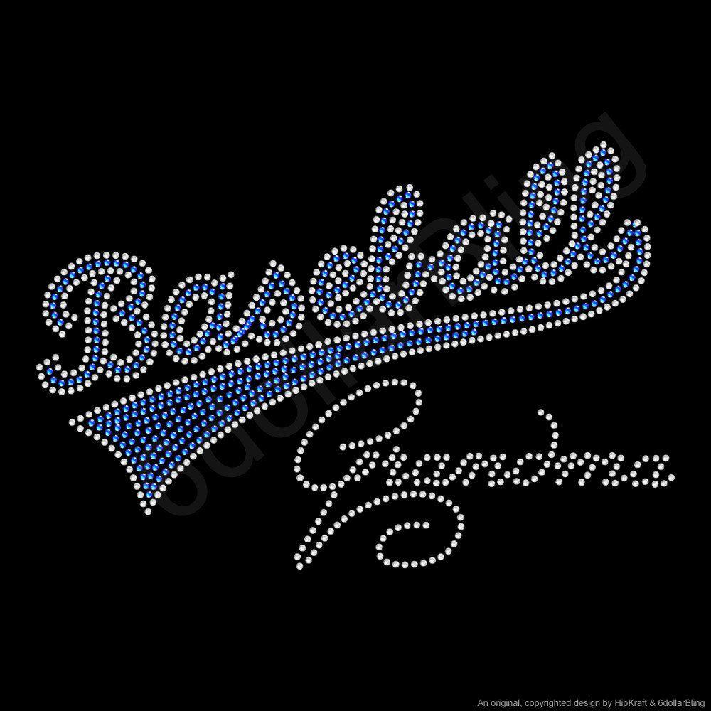 Rhinestone Iron on T-Shirt Baseball Grandma Bling Hot Fix Sports Mom Top C