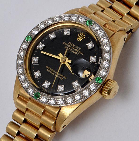 d7c70d15148 ROLEX OYSTER PERPETUAL DATE JUST - Relógio feminino de ouro amarelo 18 k
