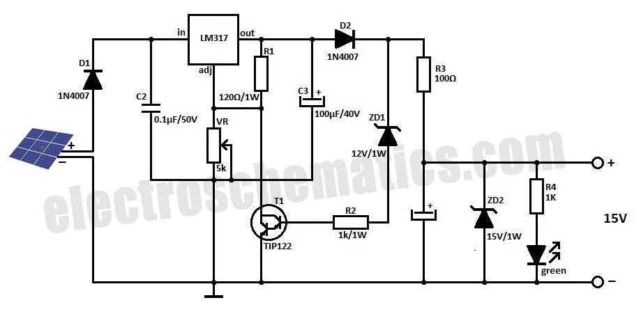 solar regulator circuit diagram 12v