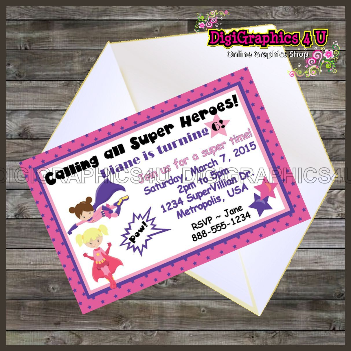birthday party invitations printable%0A Girls Superheroes Personalized Birthday Party Invitation Printable Digital  File by DigiGraphics u on Etsy