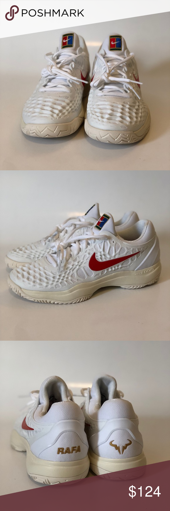 amistad No haga Indirecto  Nike Air Zoom Cage 3 HC Rafa Nadal Sz 9 Nike Air Zoom Cage 3 HC Rafa Nadal  Tennis Shoes White Red 918193-103 Sz 9. Shipped with USP… | Nike air zoom,  Nike air, Nike