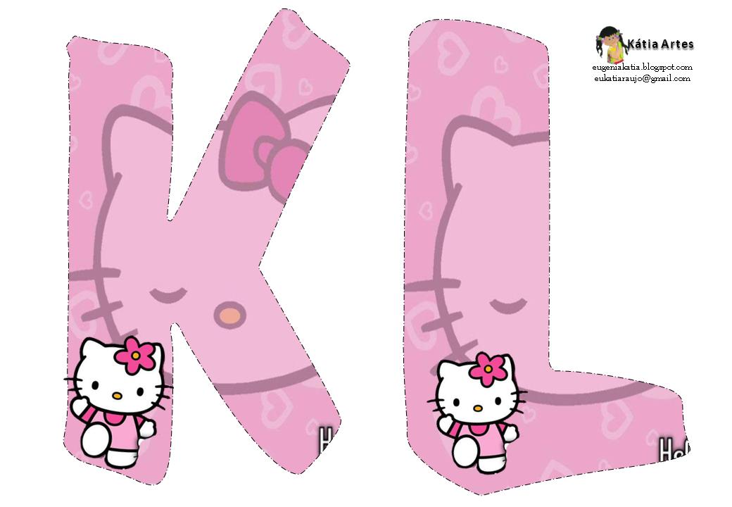 Alfabeto de Hello Kitty en fondo rosa  Oh my Alfabetos  Hello