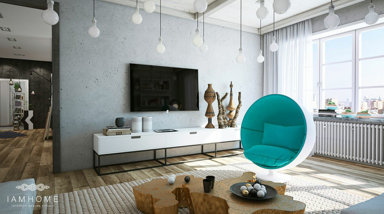 The turquoise egg chair is a cozy