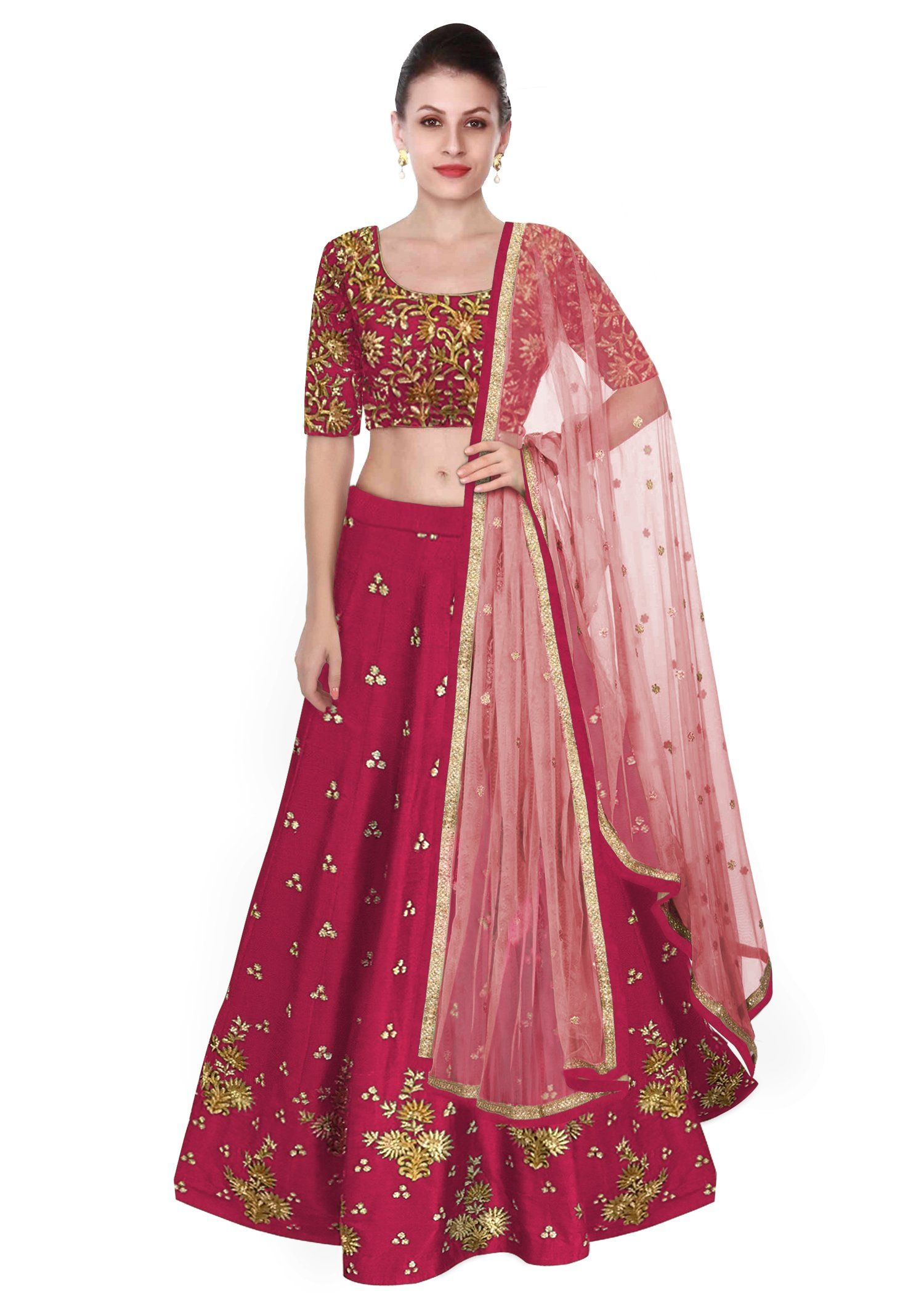 c53fa554bc Featuring the dark pink #Lehenga #Choli in raw silk with zari, gotta  embroidery & light pink dupatta.