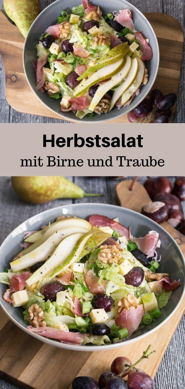 Herbstsalat mit Birne und Trauben Rezept – MakeItSweet.de
