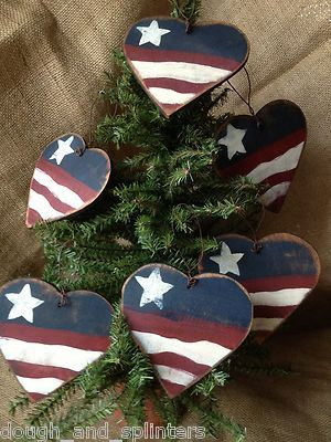 6 Primitive Striped Red White Blue Hearts Americana 4th of July Wood  Ornaments ooak, FREE SHIP - 6 Primitive Striped Red White Blue Hearts Americana 4th Of July Wood