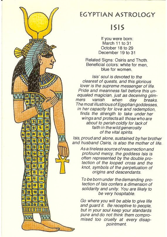 Vintage Egyptian Astrology Postcard Isis From Zodiac Unlimited