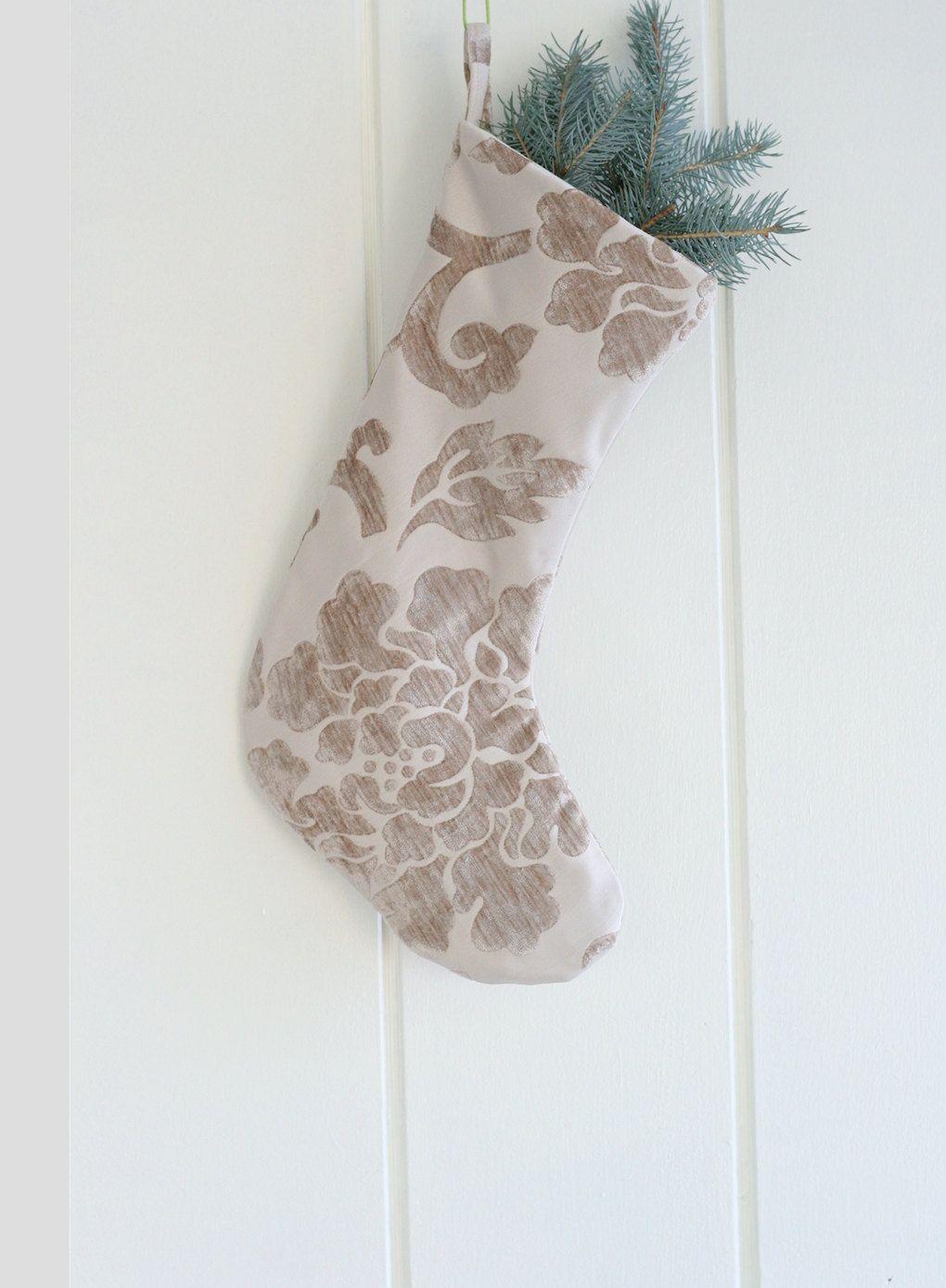 Christmas Stockings, Velvet Chenille stocking, Modern stocking, Beige Stocking, Exclusive Christmas Stockings by GreenwoodStore on Etsy
