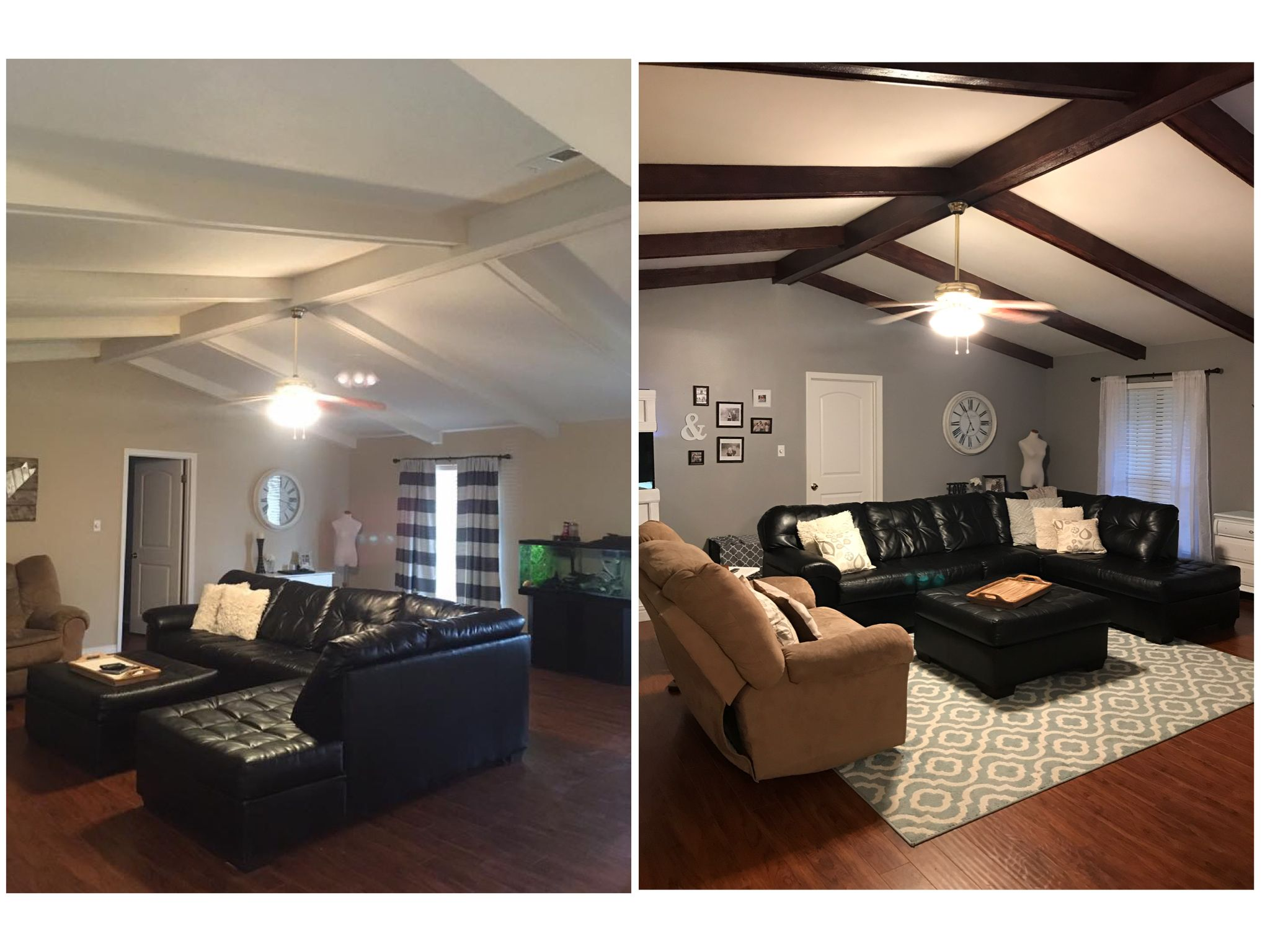 Before And After Staining The Wood Ceiling Beams After Previous
