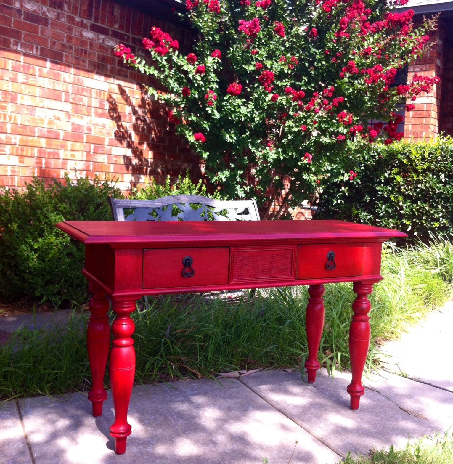 rustic red entry table makeover diy chalk paint with a special rh pinterest com