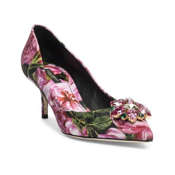 Dolce & Gabbana Crystal-Embellished Rose Brocade Point-Toe Pumps (54.440  RUB)