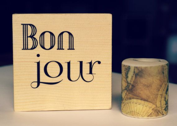 Decorative handmade wooden plaque, French style image transfer ...