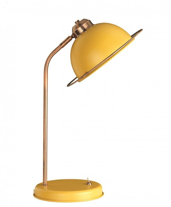 This Retro Inspired Bauhaus Table Lamp In Ochre Yellow And Copper Features  An Adjustable Head And Copper Arm And Ring Detail On The Shade.