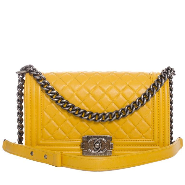 Chanel Medium Boy Quilted Calfskin Bag in Yellow