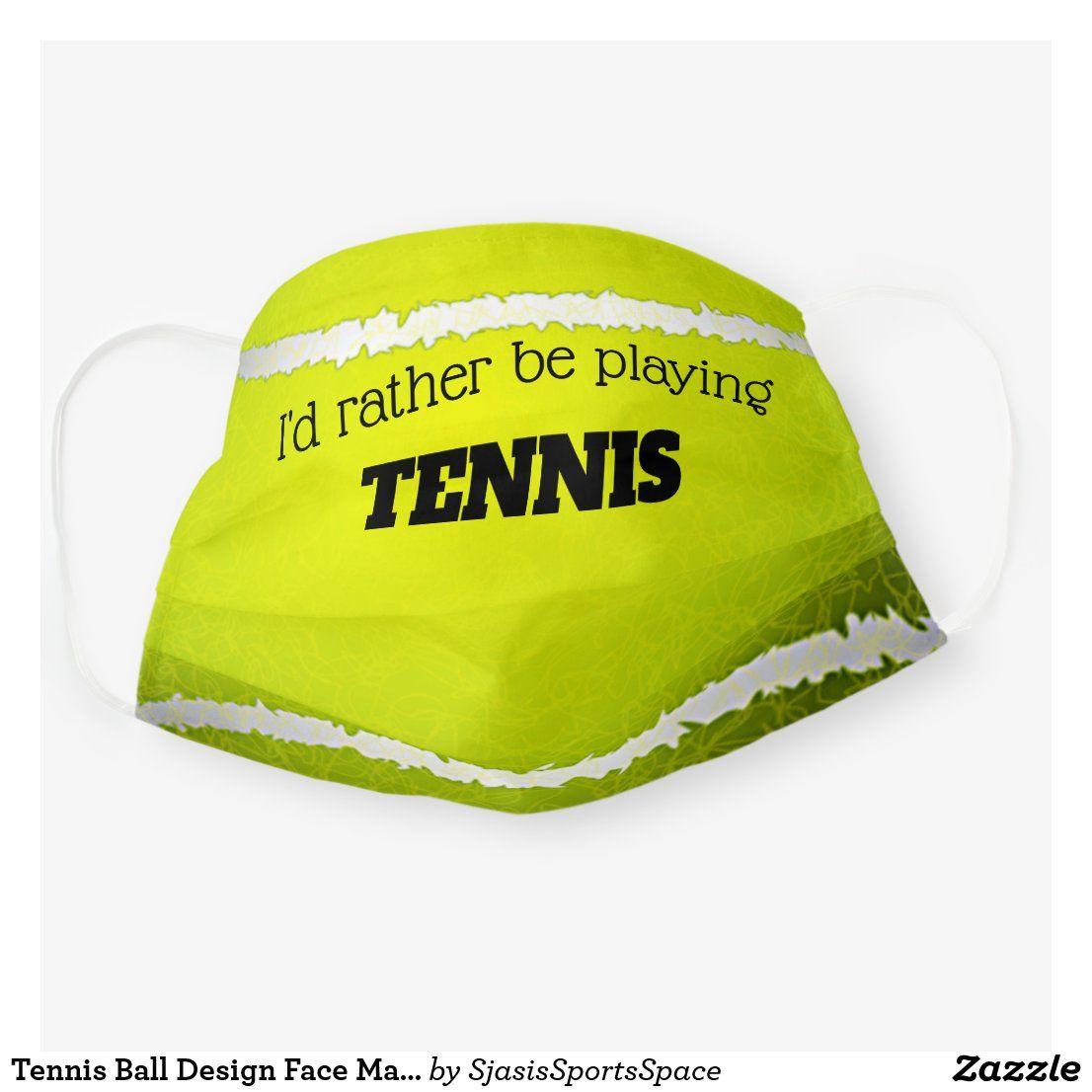 Tennis Ball Design Face Mask Zazzle Com In 2020 Face Mask Diy Face Mask Tennis Ball
