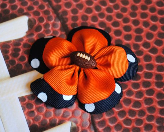 Items similar to Auburn Tigers Football Flower Ribbon Sculpture Hair Clip  -- Orange and Navy on Etsy